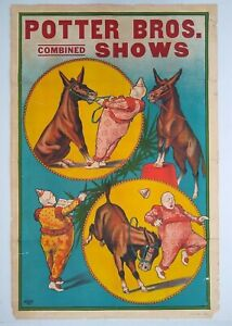Original-Circus-Poster-Potter-Bros-Combined-Shows-Clown-and-Donkey-Erie-Litho