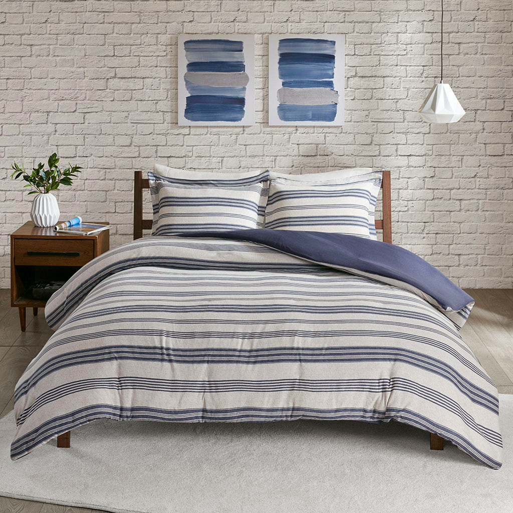 New Navy Grey Cotton Jersey knit Stripes 3 pcs Duvet Cal King Queen Set