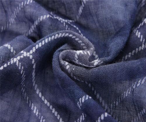 Shawl Ladies Long Scarf Fade Dye Denim Blue Off White Check Scarf