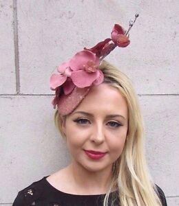 Rose Gold Dusky Pink Sequin Orchid Flower Fascinator Hat Races Wedding Vtg 3411
