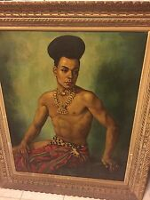 SOUNGOUROFF 1948 TABLEAU ART RUSSE HST PORTRAIT PEINTURE GAY INTEREST