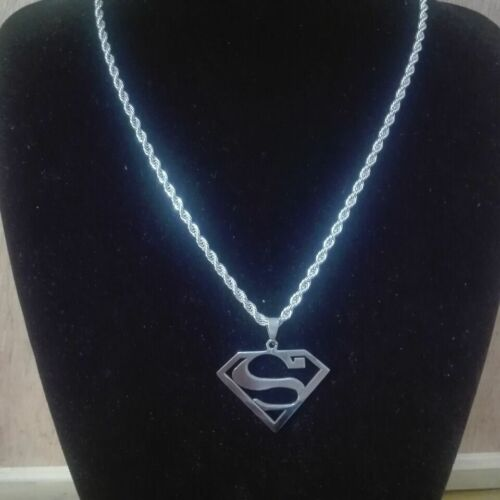 Para Hombre encanto colgante de acero inoxidable de Logotipo de Superman y Soga Cadena Bonito Regalo