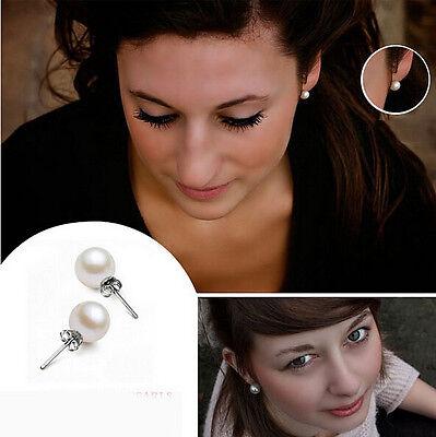 Korean Fashion Womens Lady Jewelry White Pearl Ear Stud Earrings Gift 6/810MM