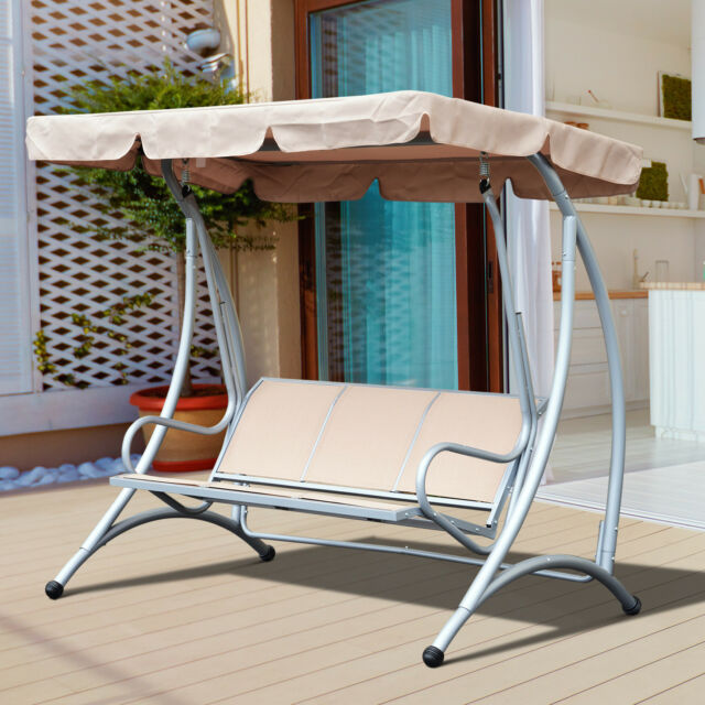 Exceptional Outsunny Sling Fabric 3 Person Steel Outdoor Patio Porch Swing Chair With