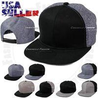 Baseball Cap Cotton Snapback Solid Plain Flat Bill Adjustable Caps Hat Denim New