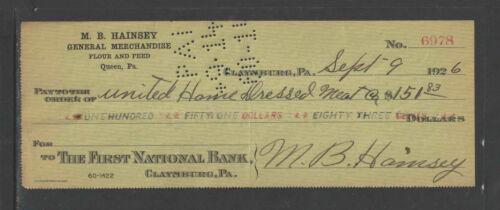 1926 M B HAINSEY GEN/'L MERCH FLOUR FEED QUEEN PA CLAYSBURG PA ANTIQUE BANK CHECK