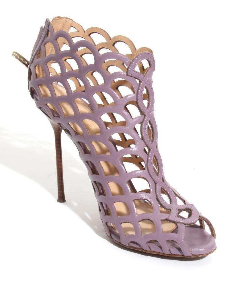 Sergio Rossi Mujer Mujer Mujer Mermaid-Cage púrpurac-Leather Tacón Alto Zapatillas Ankle-botas  venta al por mayor barato