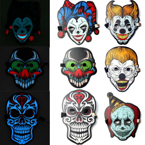 Full Face Mask Voice Sound Control LED Bendable Cool Light Face Cover Glow