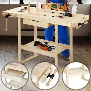 Werkbank Holz Werktisch Arbeitstisch Hobelbank Werkstatt Schraubstock Schublade Ebay