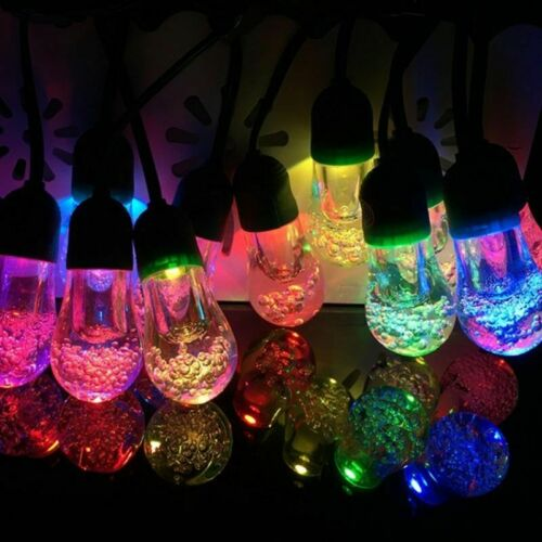 10x Solar Power Colour Changing LED Bulb String Lights Fairy Garden Lamps Patio