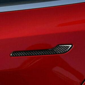 For Tesla Model 3 Black Carbon Fiber Car Door Handle Cover Trim Sticker 4Pcs Set