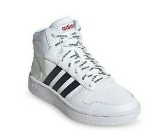adidas-Hoops-Mid-2-0-Shoes-Mid-Top-Black-White-Adidas-repeat-print-laces-Kids-2