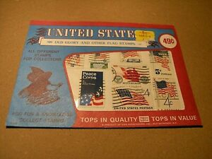 FRANCOBOLLI-USA-034-old-glory-and-other-flag-stamp-8x-closed-envelop-all-different