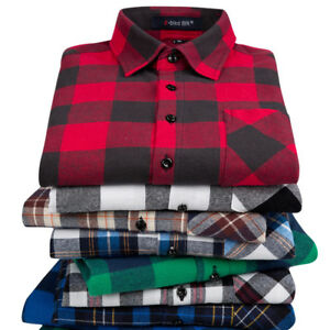 Men-039-s-Long-Sleeve-Flannel-Casual-Luxury-Check-Print-Cotton-Work-Plaid-Shirt-Tops