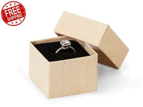 """Details about  /Brown Kraft CardBoard Jewelry Ring Boxes 1.5/""""x1.5 x 1.25/""""  Black Insert"""