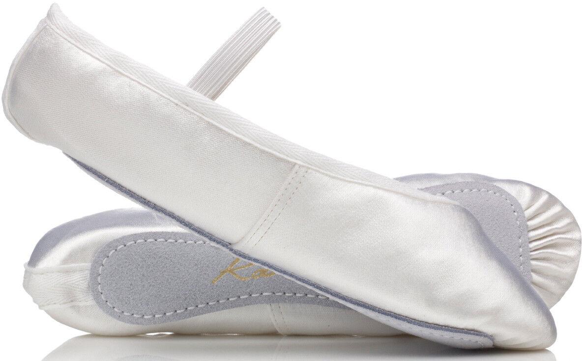 Katz white satin ballet shoes