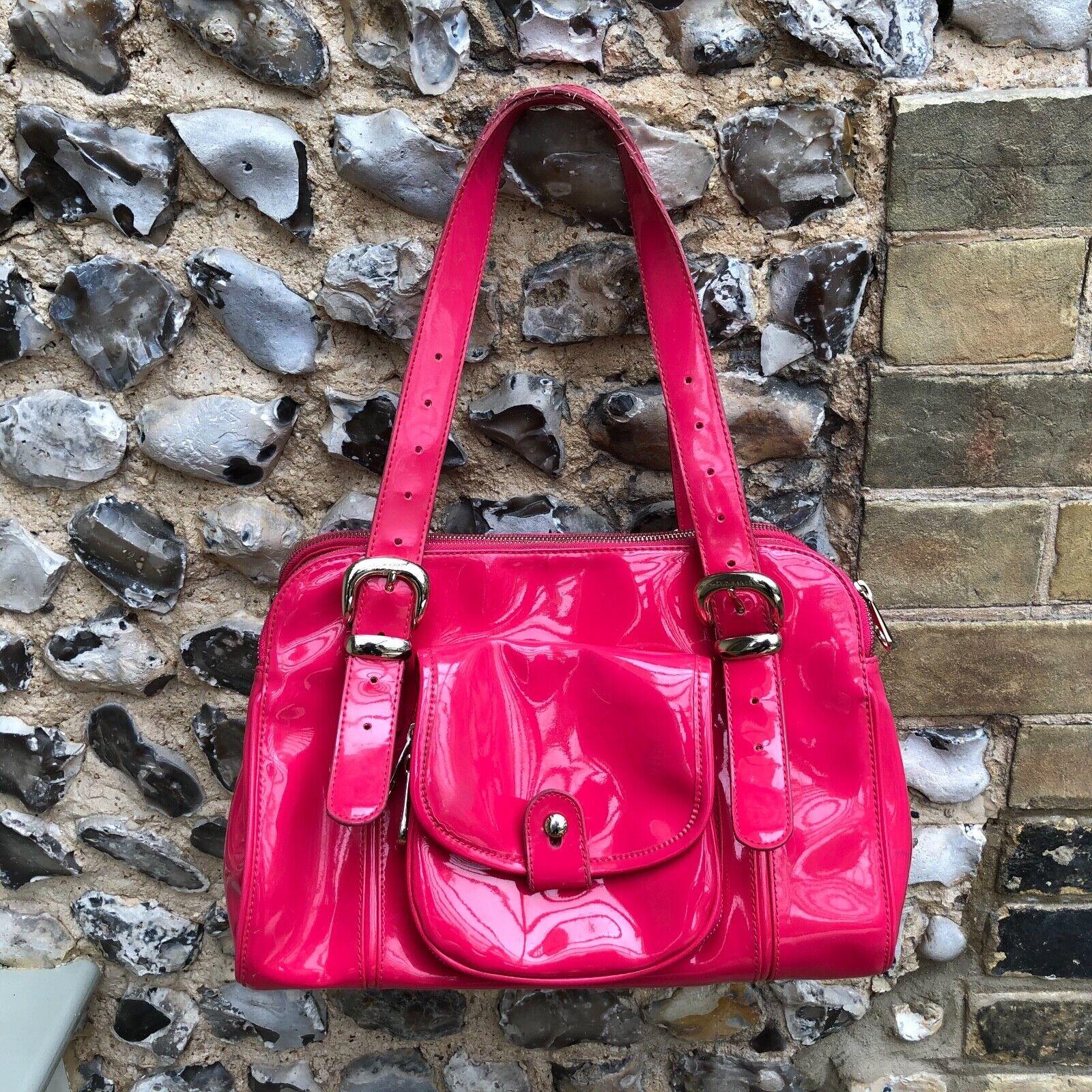 Ted Baker Shoulder Underarm Bag Handbag PVC Pink Gold Zip Up Medium Plastic