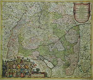 Cercle Suevicus-très Rare Schwaben Carte De J.m. Probst 1785-altkolorit-afficher Le Titre D'origine Se0eja5t-10111132-165620723
