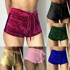 Womens Crushed Velvet YOGA Runner Casual Shorts High Waist Slim Hot Pants Bottom