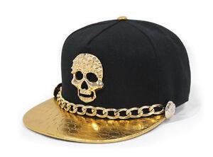 321b9d76046 men bboy gold leather chain skull snapback casual flat baseball cap ...