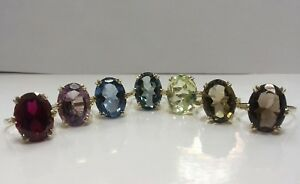 VINTAGE-9ct-Gold-Solitaire-Ring-Single-Stone-Assorted-Stones-Hallmarked