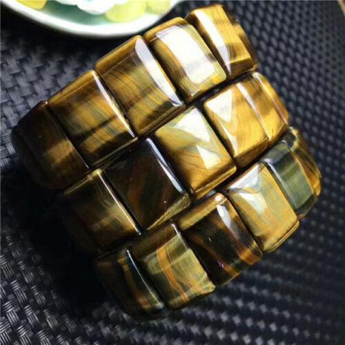 Natural Yellow TIger Eye Gemstone Rectangle Nice Bracelet 18.8*7.5MM