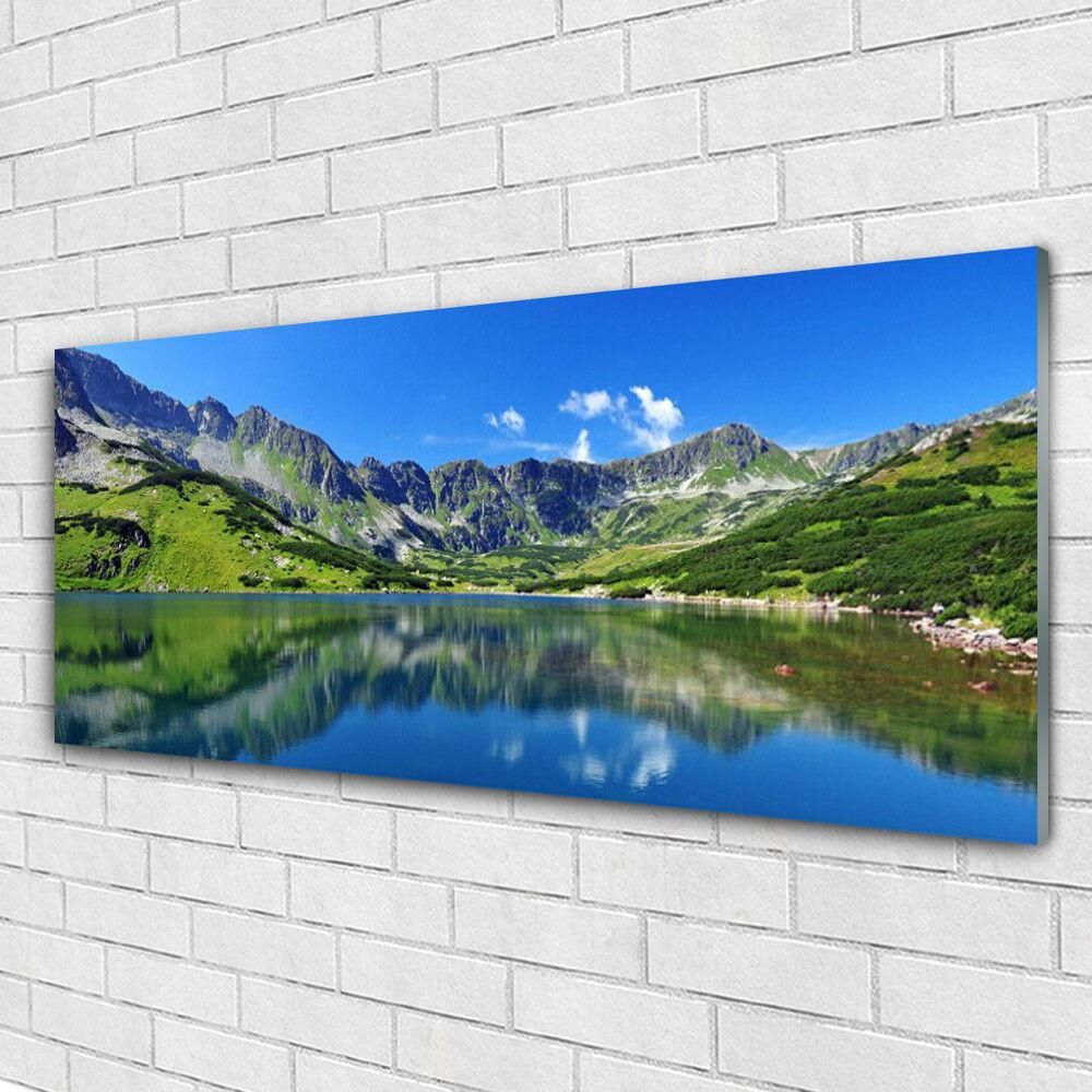 Impression sur verre Image tableaux 125x50 Paysage Montagne Lac