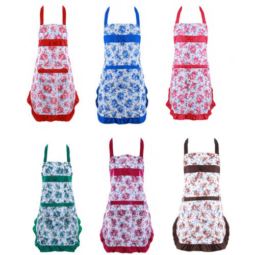Womens Kitchen Apron Flower Floral Print Cooking Dress Household Aprons CO