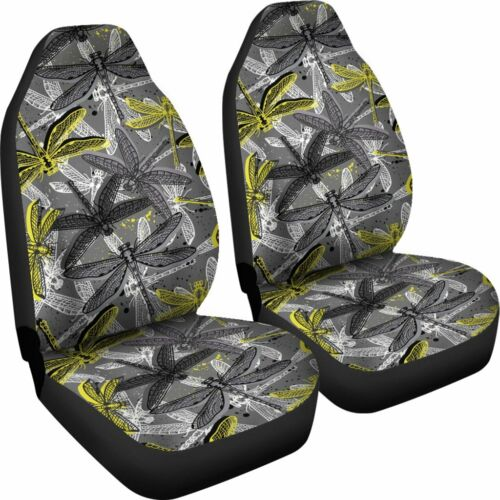 Set of 2 Front Seat Covers Protection Decoration Dragonfly Car Seat Cover