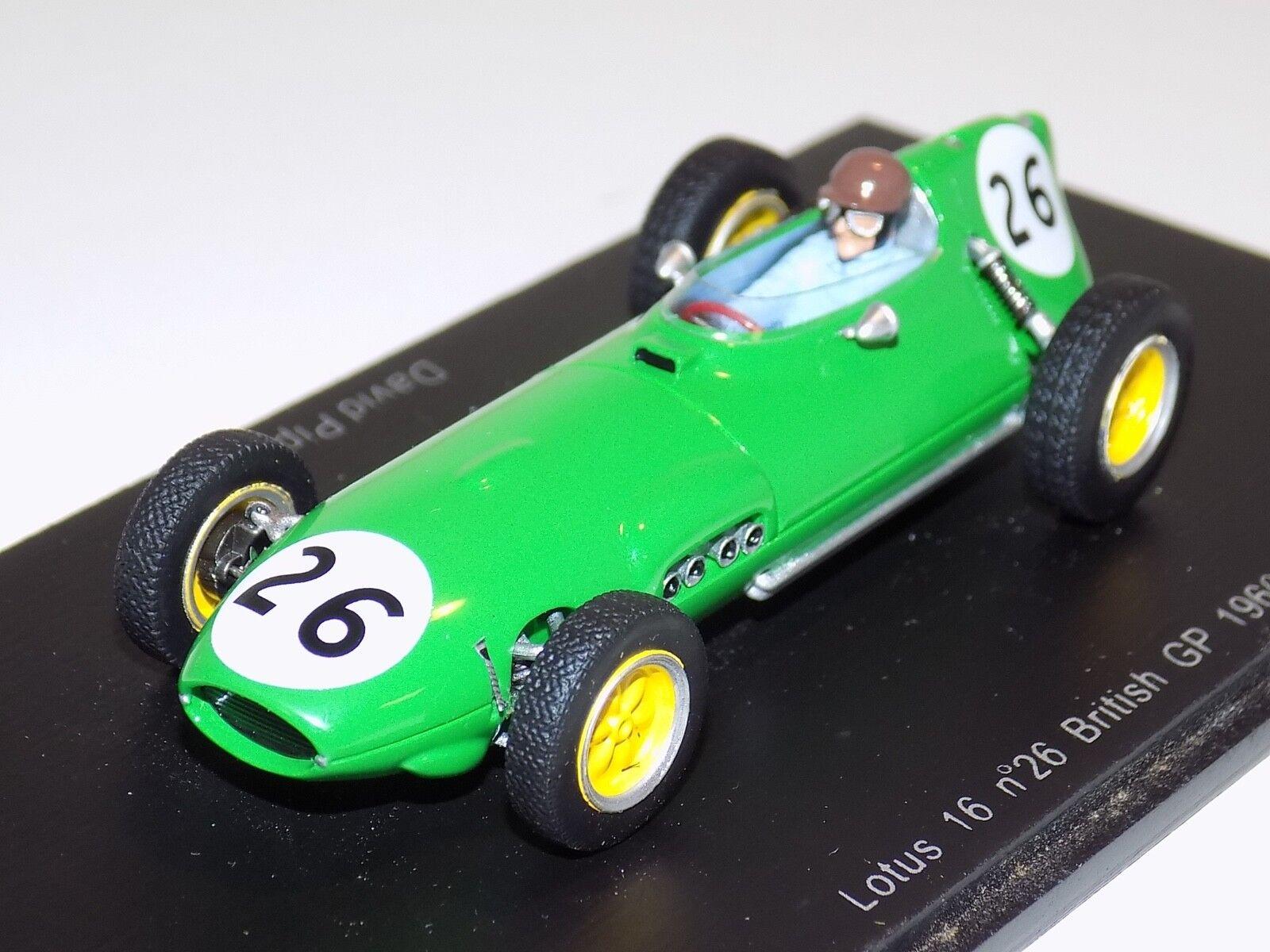 1 43 Spark Lotus 16 voiture  26 1960 British Grand Prix David Piper S1822