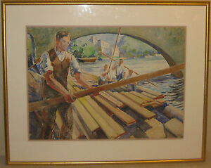 Vintage-MONTAGUE-CHARMAN-039-Working-Lumber-Yard-SAWMILL-on-River-039-PAINTING-Listed