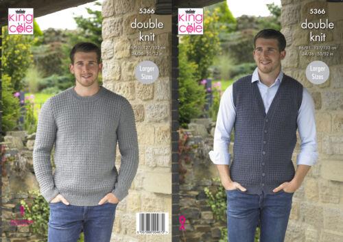King Cole Para Hombre Doble Tejer patrón Chaleco Cuello en V suéter de cuello redondo 5366