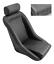 1 SEAT RETRO CLASSIC VINTAGE RACING BUCKET SEATS BLACK PERFORATED W SLIDERS