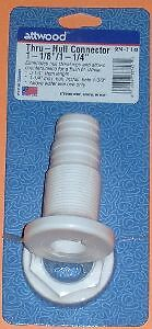 """Attwood 3874-3 Thru-Hull Connector Fitting White 1-1//8/"""" 3832"""