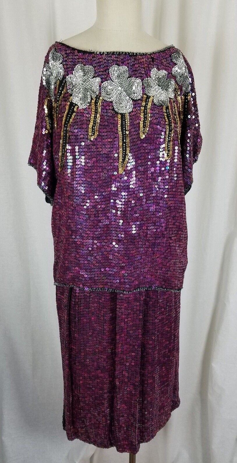 Vintage Infashions Heavily Beaded Sequined Skirt Top Suit Set Outfit Womens S