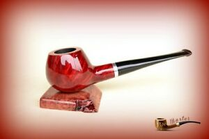 HAND-MADE-WOODEN-TOBACCO-SMOKING-PIPE-BRUYERE-no-73-Red-Straight-Briar-BOX