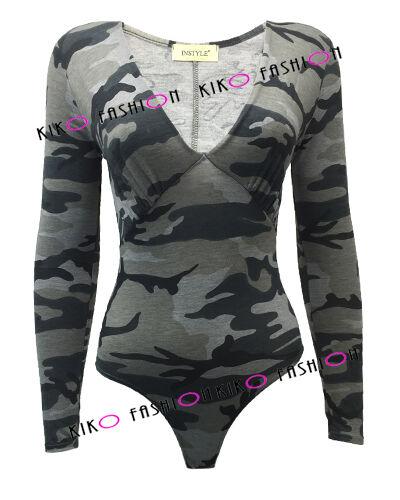 Pour femme à manches longues col en V profond robe body Camouflage leotard top