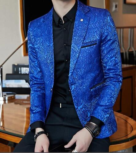 Mens Printed Floral Lapel Blazer Outwear Casual Formal Slim Fit Coats Jackets @