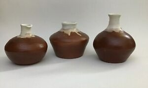 Vintage-Pottery-Art-Seed-Pot-Vessel-Bud-Vase-Pitcher-Lot-Drip-Glaze-Signed-CB-70