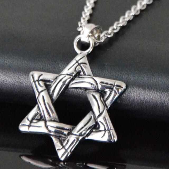 Edelstahl Halskette Kette mit Anhänger Design Hexagramm Hexagram Sechsstern NEU