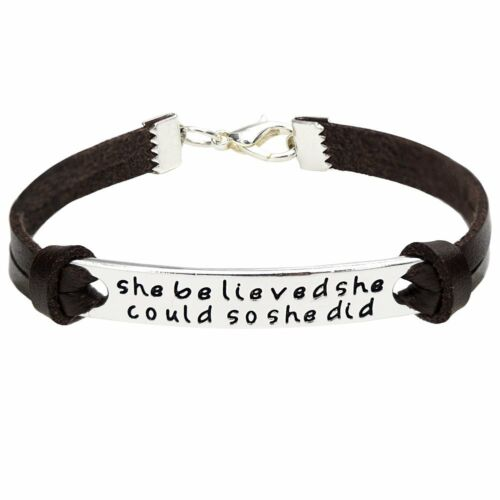 She Believed She Could So She Did Inspirational Leather Bracelet Wristband Charm