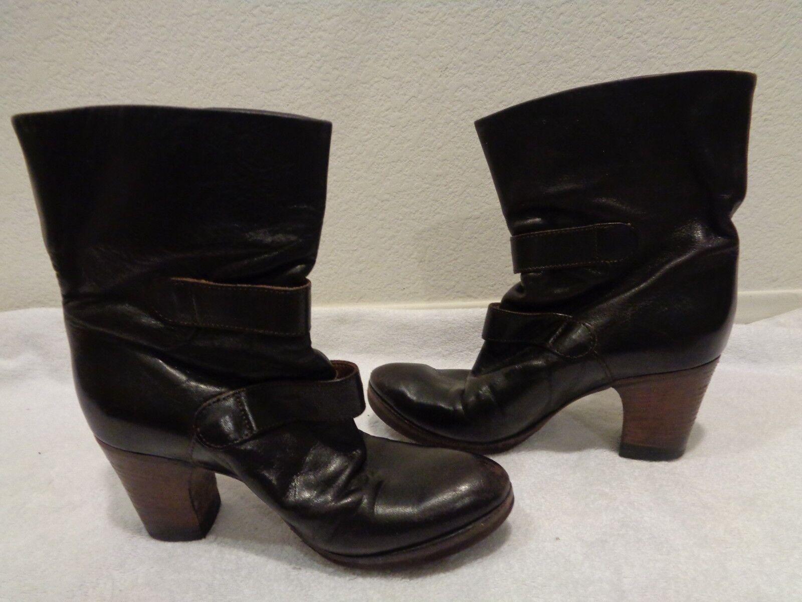 FIORENTINI + BAKER Braun Braun BAKER ankle heel buckle LEATHER Stiefel 37.5/7.5 abe25d