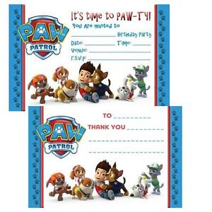 Details About Paw Patrol Birthday Party Invites Thanks You Notes Cards Childrens Invitations