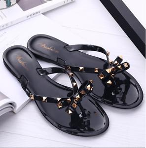 Women-Summer-Beach-Studded-Rivets-Bow-Flip-Flops-Flat-Heel-Slipper-Sandals-Shoes