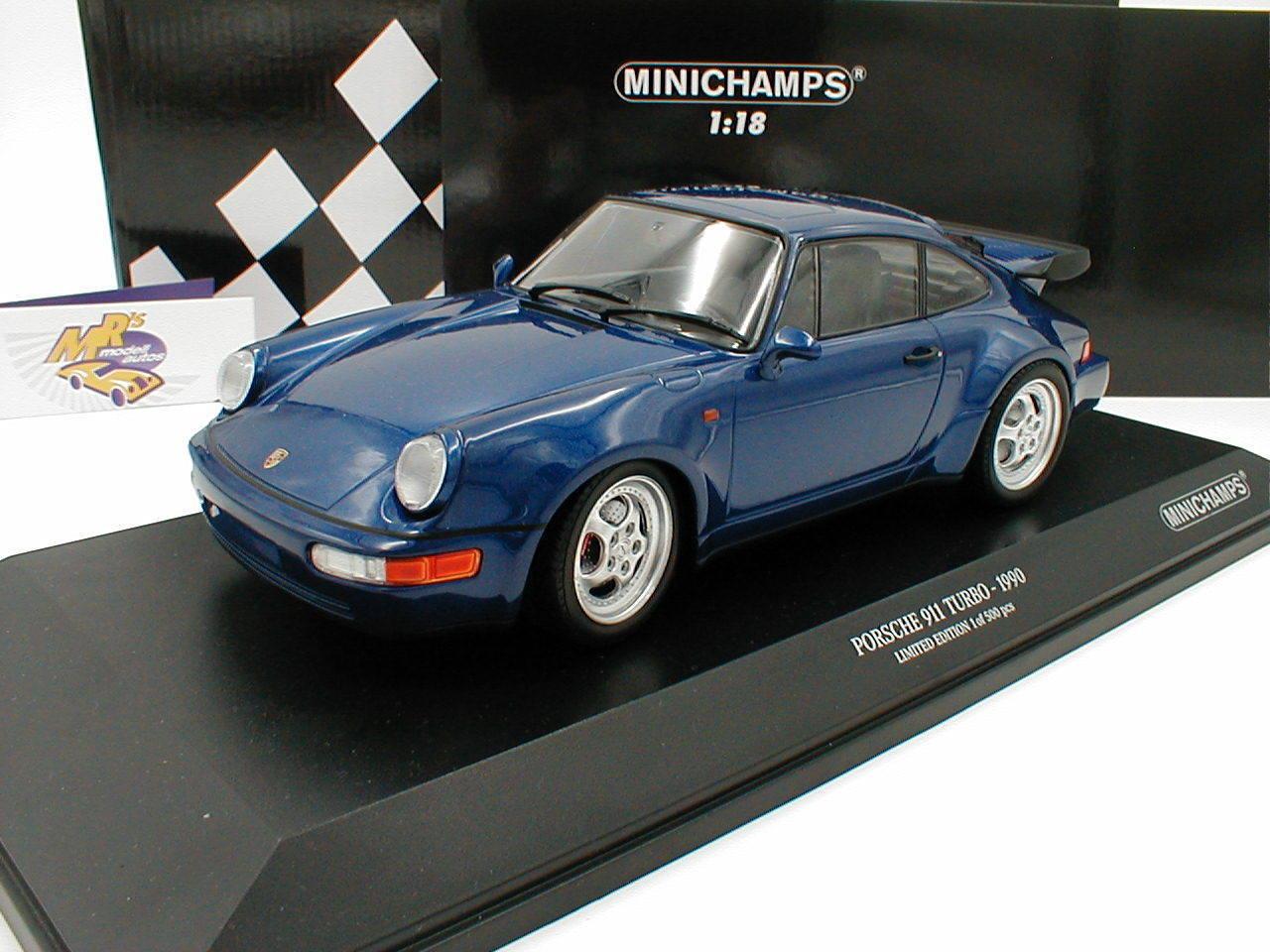 MINICHAMPS 155069101   Porsche 911 Turbo Année de fabrication 1990 in  bleumetallic  1 18