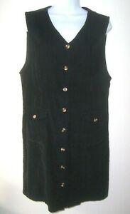Vintage-Black-Corduroy-JUMPER-DRESS-by-BRYN-CONNELLY-Sz-12-Button-Front-Pockets