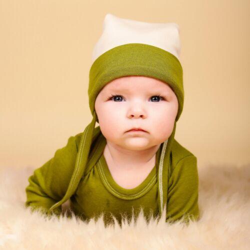 GREEN ROSE Hat 100/% MERINO WOOL baby children girl boy toddler organic bonnet