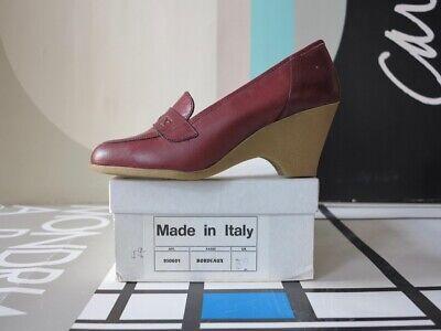 Donna Scarpe Basse Zeppa Pelle Rosso Vinaccia 90er True Vintage 90s Shoe Red Leather-mostra Il Titolo Originale