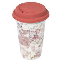 Ceramic Insulated Travel Mug Cup Beaker Vintage Atlas Map Globe World Thermal