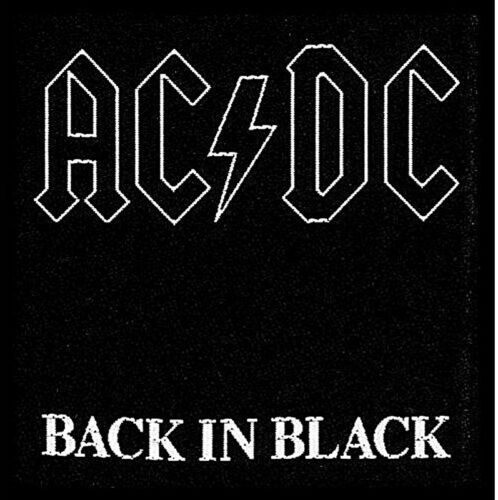 AC//DC Back In Black sew-on cloth patch 100mm x 100mm ro
